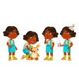 indian girl kindergarten kid poses set vector image vector image
