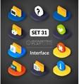 Isometric flat icons set 31 vector image