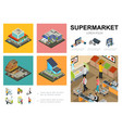 isometric supermarket infographic template vector image vector image