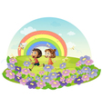 Kids in a field chasing insects vector image vector image