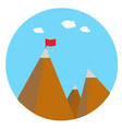 landscape with flag on the mountain success vector image