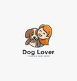 logo dog lover with children simple mascot style vector image