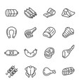 meat products dishes poultry thin line icons set vector image vector image