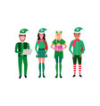 mix race people christmas elf santa helper concept vector image vector image