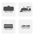 monochrome icon set with train vector image