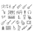 music icons piano guitar microphone notes vector image vector image