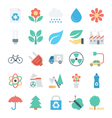 Nature and Ecology Colored Icons 2 vector image