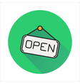 open hanging door plate simple icon on circle vector image