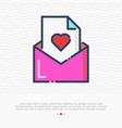 pink envelope with heart thin line icon vector image vector image