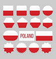 poland flag collection figure icons set vector image vector image
