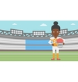 Rugby player with ball and helmet in hands vector image vector image