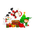 santa claus and elf on chimney vector image vector image