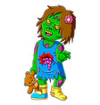 scary little zombie girl holding teddy bear vector image vector image