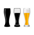 set glass beer vector image vector image