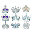 set jewelry silver crowns with precious stones vector image vector image