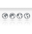 set transparent icon globes earth vector image vector image