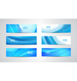 set wavy banners blue wave web headers vector image