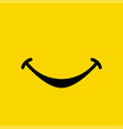 smile emoticon show mouth on yellow background vector image