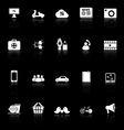 Social network icons with reflect on black vector image vector image