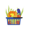 vegetable shop basket flat style vector image vector image
