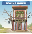 Vintage sewing house in the wild West series card vector image