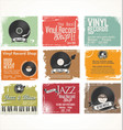 vinyl record shop retro grunge banner collection 2 vector image vector image
