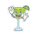 waving margarita character cartoon style vector image