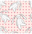 White bunnies toys childish seamless pattern vector image