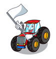 with flag tractor mascot cartoon style vector image