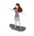 woman skateboarder ride a skate vector image