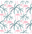 a pink flamingo stands near a palm tree seamless vector image vector image
