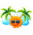 A sunny weather with coconut trees vector image vector image