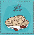 almond cookies or macaroons on lacy napkin vector image