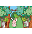 animals in the forest doodle cartoons vector image vector image