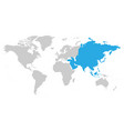 asia continent blue marked in grey silhouette of vector image vector image