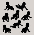 Baby Crawling Silhouette vector image vector image