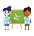 back to school student boys chalkboard elementary vector image vector image