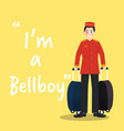 bellboy character with luggages on yellow vector image vector image