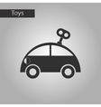 black and white style toy car with key vector image vector image