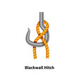 blackwall hitch sea knot bright colorful how-to vector image