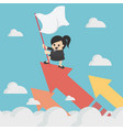 businesswoman holds the flag on the chart soaring vector image