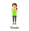 cartoon little girl wonder feeling vector image vector image