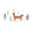 christmas card background with winter forest vector image vector image