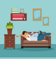 colorful scene man sleep in sofa with dog pet vector image vector image