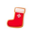 cookie santa sock with snowflake vector image vector image