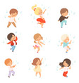 cute boys and girls singing and dancing set vector image vector image
