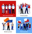Demonstration Protest People 2x2 Icons Set vector image vector image