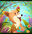 dog or puppy playing in nature with butterfly vector image