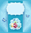 easter background with label eggs and butterflies vector image