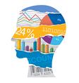 Economist sales manager head silhouette vector image